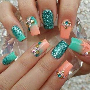 Оранжевый маникюр, дизайн гелевых ногтей в морском стиле