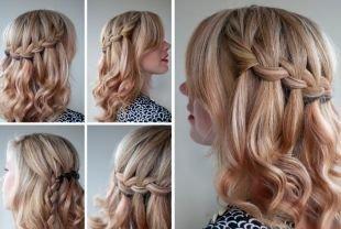Прическа коса на бок на средние волосы, прическа французский водопад
