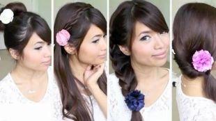Прически с косами на выпускной на длинные волосы, прическа в школу - разнообразие вариантов с цветком