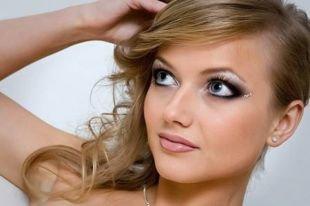 Свадебный макияж для круглого лица, чудесный свадебный макияж для голубых глаз с камнями