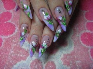 Маникюр акрилом, китайская роспись на ногтях - изящные каллы
