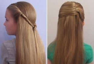 Золотисто русый цвет волос, простые школьные прически для девочек