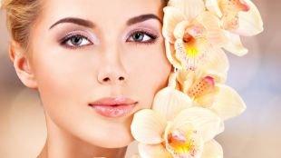 Свадебный макияж в персиковых тонах, макияж для невесты с серыми глазами