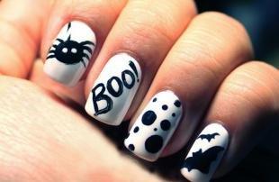 Черно-белые рисунки на ногтях, идеи маникюра на хэллоуин