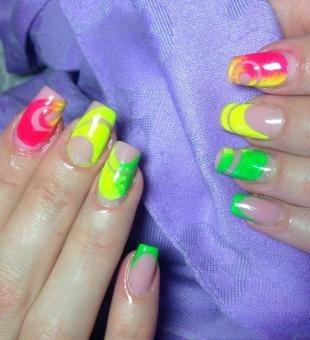 Рисунки на нарощенных ногтях, модный цветной дизайн ногтей