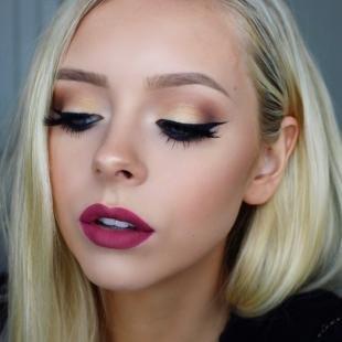 Макияж для блондинок, эффектный вечерний макияж с матовой помадой