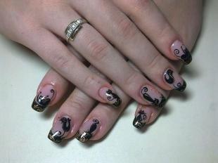 Черный френч, дизайн ногтей с кошками