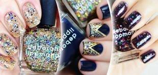 Дизайн ногтей, новогодний дизайн ногтей с блестками