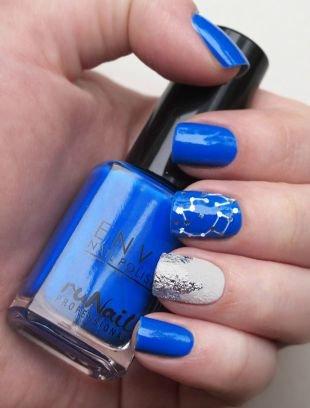 """Дизайн ногтей с фольгой, ярко-синий маникюр """"созвездие"""""""