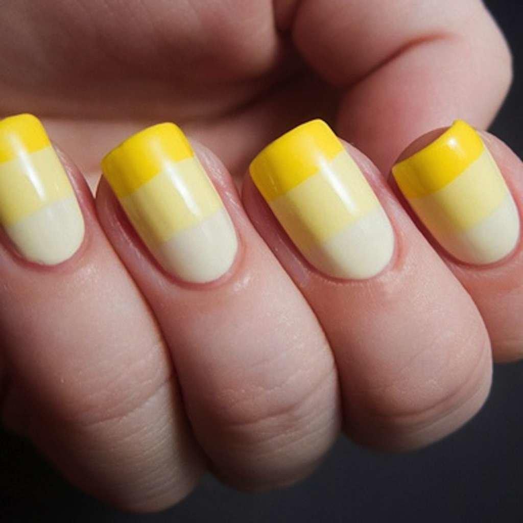 Идеи маникюра белый с желтым