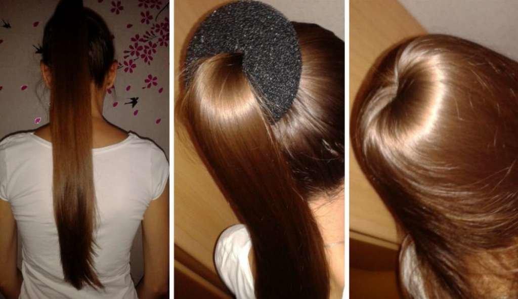 Причёска с бубликом на длинные