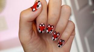 Красные ногти с рисунком, маникюр с животными