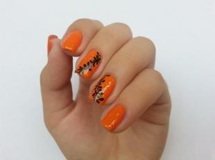 Коралловые ногти с рисунком, оранжевый маникюр с растительным рисунком