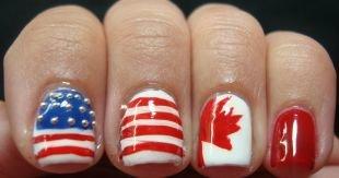 Рисунки на маленьких ногтях, маникюр с флагами