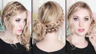 Цвет волос песочный блондин, модная прическа на выпускной