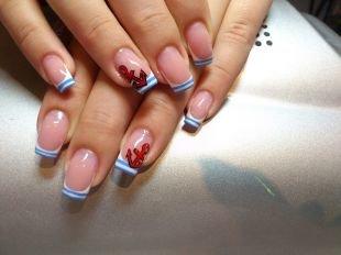 Маникюр на средние ногти, морской маникюр с якорями