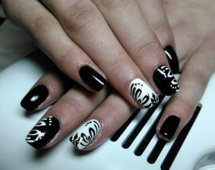 Рисунки белым лаком на ногтях, черно-белый маникюр с рисунком