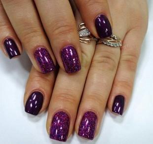 Аквариумный дизайн ногтей, сверкающий темно-фиолетовый маникюр