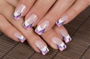 Французский маникюр (френч), весенний дизайн ногтей в белом цвете