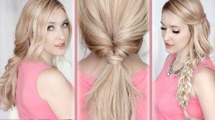 Цвет волос холодный блонд, простые повседневные прически на длинные волосы