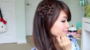 Каштановый цвет волос, модная прическа для девушки