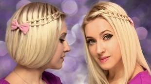 """Цвет волос теплый блонд, прическа на новый год с плетением """"водопад"""""""