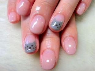Рисунки с животными на ногтях, маникюр с кошачьими мордочками